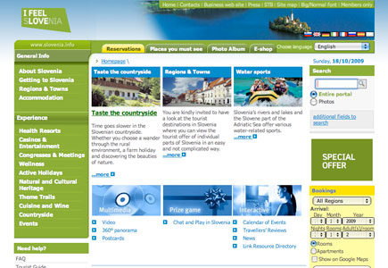 Branding Slovenia website